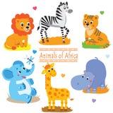 Paquete de los animales del safari de la historieta Sistema lindo del vector Imagen de archivo libre de regalías