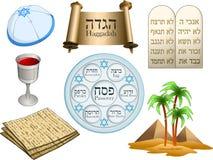 Paquete de los símbolos de la pascua judía stock de ilustración