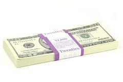 Paquete de notas de 20 dólares Imagen de archivo libre de regalías