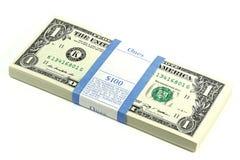 Paquete de notas de 1 dólar Fotos de archivo
