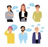 Paquete de personajes de dibujos animados pensativos y de burbujas masculinos y femeninos del pensamiento con los signos de inter stock de ilustración