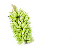 paquete de plátanos crudos del huevo en la comida sana de la fruta de Pisang Mas Banana del fondo blanco aislada Imagen de archivo libre de regalías