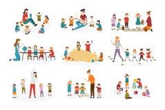 Paquete de preescolar o de actividades de la guardería Profesor de sexo femenino y niños que tocan la guitarra y que cantan las c libre illustration