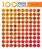 Paquete de 100 símbolos modernos en la línea estilo fina Foto de archivo libre de regalías