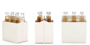 Paquete de seis de botellas de cerveza claras Fotos de archivo libres de regalías