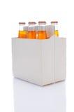Paquete de seis de botellas de soda anaranjada Fotografía de archivo libre de regalías