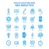 Paquete de SEO Analytics Blue Tone Icon - 25 sistemas del icono ilustración del vector