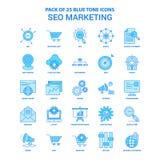 Paquete de SEO Marketing Blue Tone Icon - 25 sistemas del icono libre illustration