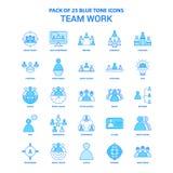 Paquete de Team Work Blue Tone Icon - 25 sistemas del icono stock de ilustración