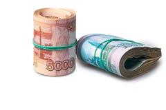 Paquete de un y cinco mil rublos de billetes de banco Fotos de archivo