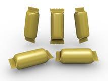 Paquete del abrigo del cilindro del oro con la trayectoria de recortes Imagen de archivo libre de regalías