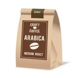 Paquete del bolso de la comida del papel de Brown de café Plantilla realista de la maqueta del vector Diseño de empaquetado del v Imagen de archivo libre de regalías