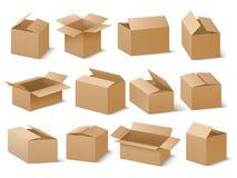 Paquete del cartón de la entrega y del envío Sistema del vector de las cajas de cartón de Brown Imágenes de archivo libres de regalías