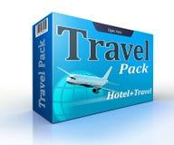 Paquete del concepto de la agencia de viajes con vuelo y el hotel Fotos de archivo libres de regalías