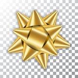 Paquete del elemento de la decoración de la cinta del arco 3D del oro El presente de oro brillante del regalo de la plantilla ais libre illustration
