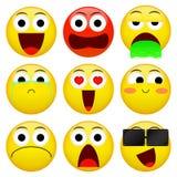 Paquete del emoticon de la sonrisa de Emoji Ejemplo de la emoción del vector Fotografía de archivo libre de regalías