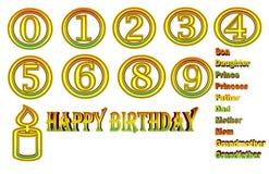 Paquete del feliz cumpleaños que es rojo, amarillo y verde ilustración del vector