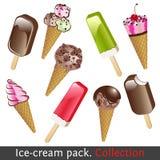 Paquete del helado. Colección Fotos de archivo