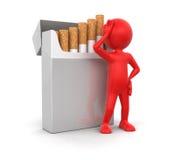 Paquete del hombre y del cigarrillo (trayectoria de recortes incluida) Foto de archivo libre de regalías