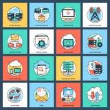 Paquete del icono de Internet y de establecimiento de una red libre illustration