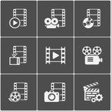 Paquete del icono de la película en fondo negro Vector Fotos de archivo