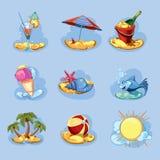 Paquete del icono del verano Fotografía de archivo