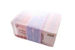Paquete del sello de 10 paquetes de 100 de nuevas centésimas notas del baht Fotos de archivo