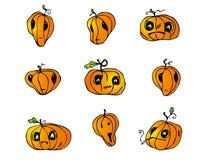 Paquete del vector de las calabazas de Halloween Imágenes de archivo libres de regalías
