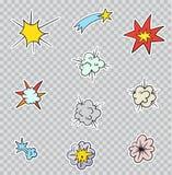 Paquete determinado de las etiquetas engomadas, pernos, remiendos en el ` s - estilo cómico de la historieta 80 de 90 ` s Imágenes de archivo libres de regalías