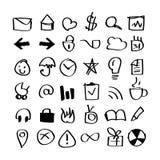 Paquete dibujado mano de los iconos Fotos de archivo