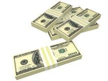 Paquete dispersado de cuentas de dólar aisladas Foto de archivo libre de regalías