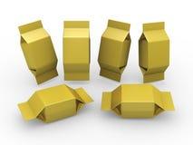 Paquete en blanco del oro para el producto cuadrado de la forma Foto de archivo