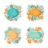 Paquete floral de las ilustraciones Fotografía de archivo