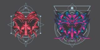 Paquete gemelo de la máscara del demonio stock de ilustración