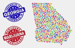 Paquete Georgia State Map y desolación montada y filigranas de la marijuana libre illustration