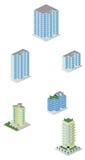 Paquete isométrico de las construcciones de viviendas de la ciudad Imagenes de archivo