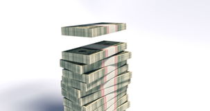 paquete 4K de 100 billetes de dólar que caen abajo stock de ilustración