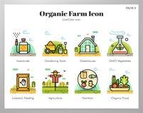 Paquete orgánico de LineColor de los iconos de la granja stock de ilustración