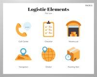 Paquete plano de los elementos logísticos stock de ilustración