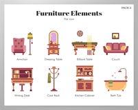 Paquete plano de los elementos de los muebles stock de ilustración