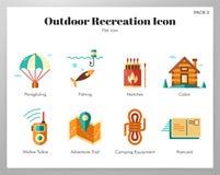 Paquete plano de los iconos al aire libre de la reconstrucción ilustración del vector