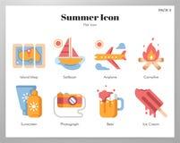 Paquete plano de los iconos del verano libre illustration