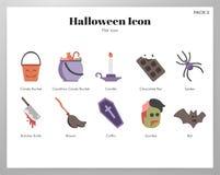 Paquete plano de los iconos de Halloween ilustración del vector