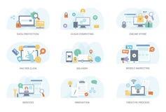 Paquete plano del ejemplo del negocio stock de ilustración