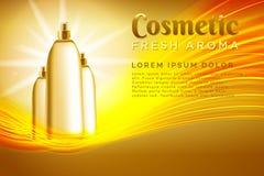 paquete realista del cosmético de la plantilla Plantilla del producto de los cosméticos del espray para los anuncios o el fondo d stock de ilustración