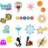 Paquete retro del vector de los iconos Fotos de archivo libres de regalías