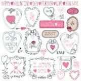 Paquete romántico del marco Tarjeta del día de San Valentín del dibujo de la mano Foto de archivo