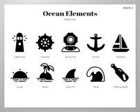 Paquete sólido de los elementos del océano libre illustration