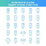 25 paquete verde y azul del icono de las funciones del teléfono de Futuro Smart libre illustration
