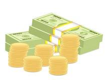 Paquete y monedas del dólar Imagen de archivo